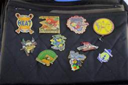 Lot of Enameled Hat Pins in a Cloth Case