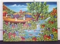 Miguel Rigo Oil on Canvas Colorful Haitian Scene