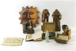 Lot of Vintage Smalls incl Carved Wood Train Bank