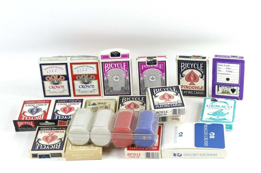 Lot of Playing Cards and Poker Chips
