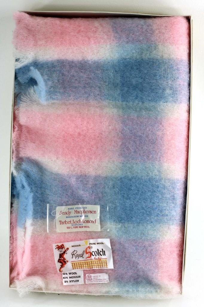 Pink and Blue Wool and Mohair Blanket New in Box