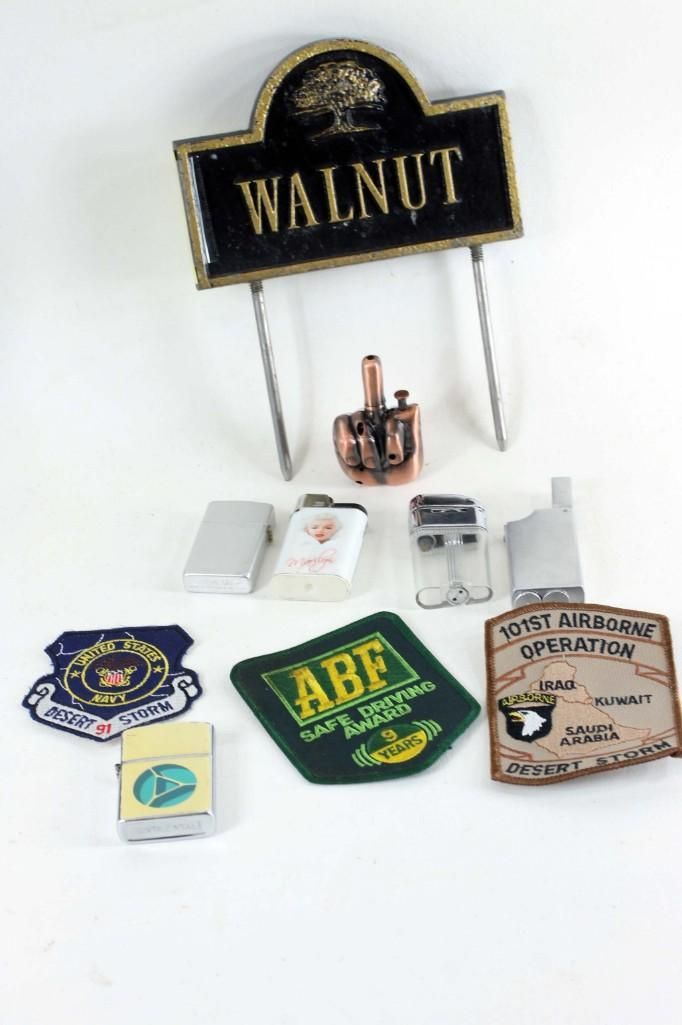 Lot of Vintage Smalls incl Military Patches, Lighters,