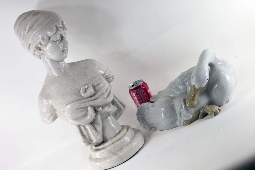 Ceramic Bust of a Woman and a Ceramic Goose