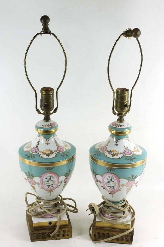 Pair of Vintage Lamps with Aqua and Pink Design