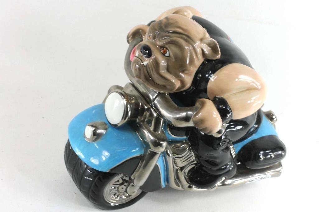 Ruff Rider Dog on a Motorcycle Ceramic Cookie Jar