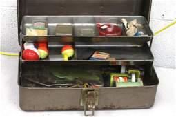Metal Fishing Tackle Box with Tackle
