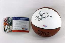 Tyrus Thomas Autographed Mini Basketball with PSA COA