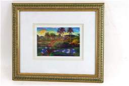 Framed and Matted Tropical Print Pencil Signed and