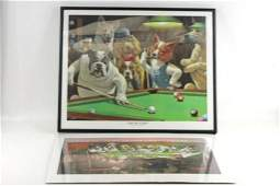 Framed Print of Dogs Playing Pool and Print of Dogs