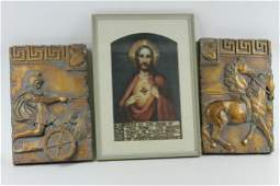 Picture of Jesus and two wall decor hangings of a Greek