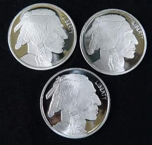 Lot of 3 BU Silver Buffalo Indiana Head Rounds
