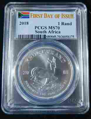 South African Krugerrand 1st Day Issue PCGS MS70