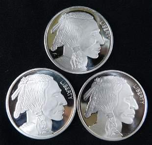 Lot of 3 BU Silver Buffalo Indian Head Rounds 999 Fine