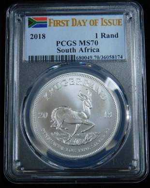 1st Day Issue South Africa Krugerrand PCGS MS70