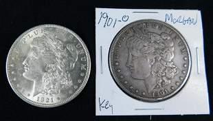 1901O and 1921P Morgan Silver Dollars