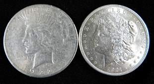 1922S Peace Dollar and a 1921P Morgan Dollar