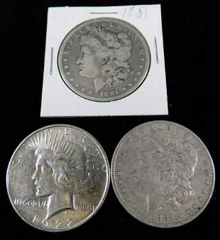 Lot of 3 Silver Dollars incl 1881P Morgan Dollar