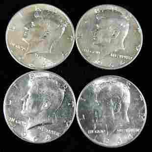Lot of 4 AU 1964 Kennedy Half Dollars