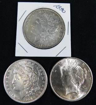 Lot of 3 Silver Dollars incl 1890P Morgan Dollar