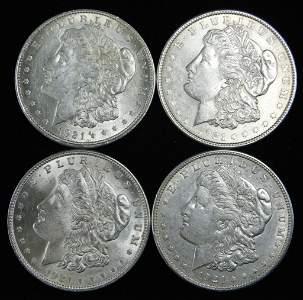 Lot of Four 1921 Morgan Silver Dollars