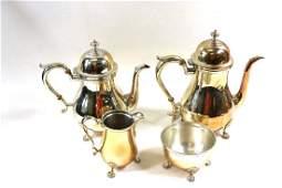 Sterling Silver Coffee Pot, Tea Pot, Creamer and Sugar