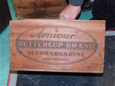 Armour Buttercup Brand Oleomargarine Wooden Crate or
