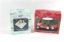 Lot of 2 Christmas Ornaments Tractor and a Monopoly