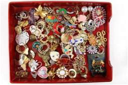Lot of Costume Jewelry incl Vintage Brooches and Pins