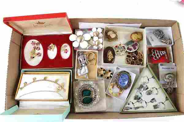 Lot of Vintage Costume Jewelry incl Brooches and Pins