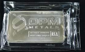 BU 10 oz Pure Silver Bar OPM Metals