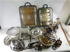Large lot full of Silverplate serving dishes
