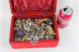 Jewelry Box Filled with Vintage Costume Jewelry incl