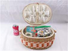 Vintage Sewing Basket Filled with Vintage Sewing Items