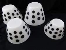 1950s Fire King Black Polka Dot Nesting Bowls Set of 4