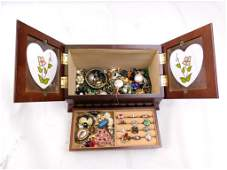 Jewelry Box Filled with Costume Jewelry incl Rings and