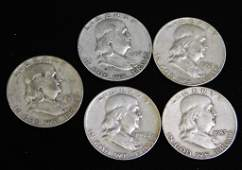 Lot of 5 Franklin Half Dollars