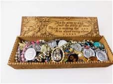 Wooden Box of Costume Jewelry