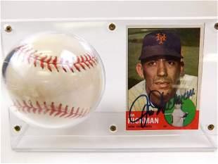 Autographed Baseball & Card - Jim Hickman 1963 NY Mets