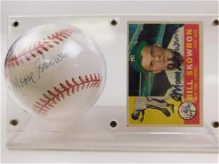 1960 Topps #370 Moose Skowron Card & Signed Baseball