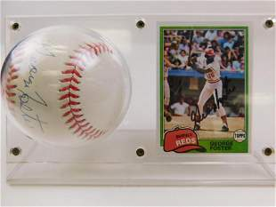1981 Topps #200 George Foster Card & Signed Baseball
