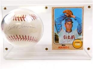 1968 TOPPS #279-BILL HANDS Signed Card & Baseball
