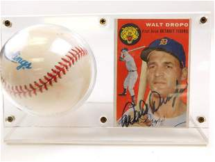 1954 Topps #18 Walt Dropo Signed Card & Baseball NO COA
