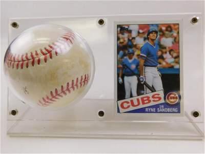 1985 Topps #460 Ryne Sandberg HOF Card & Baseball