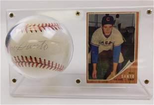 1962 Topps #170 Ron Santo Card & Signed Baseball