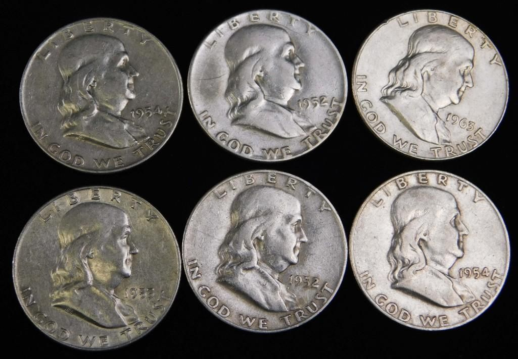 Lot of 6 Franklin Half Dollars