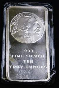 Uncirculated 10 Troy Oz Silver Bar Indian Head Buffalo