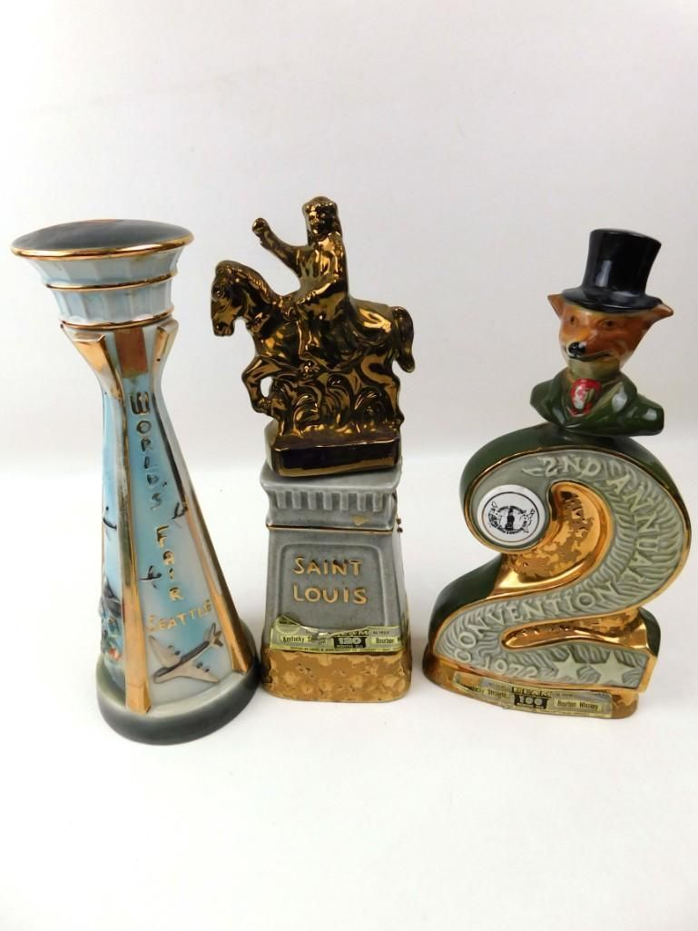 Lot of 3 Jim Beam Decanters incl Seattle World's Fair