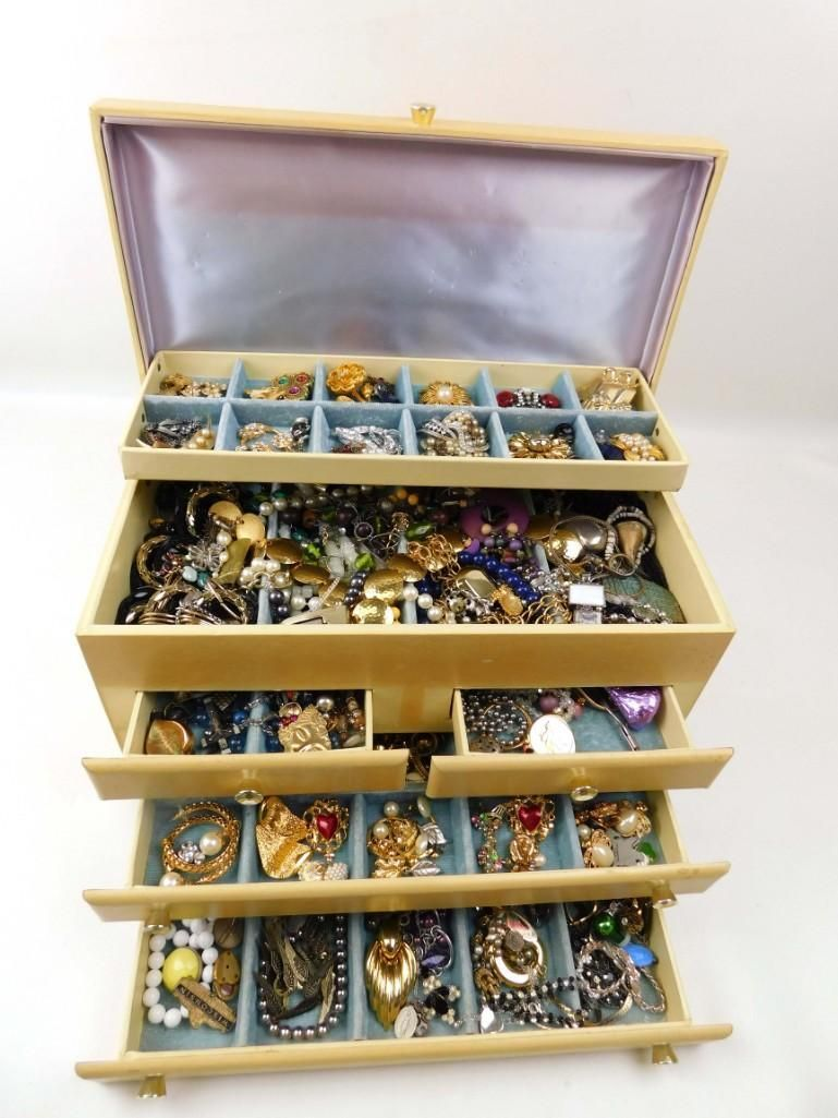 Large Jewelry Box Filled with Costume Jewelry