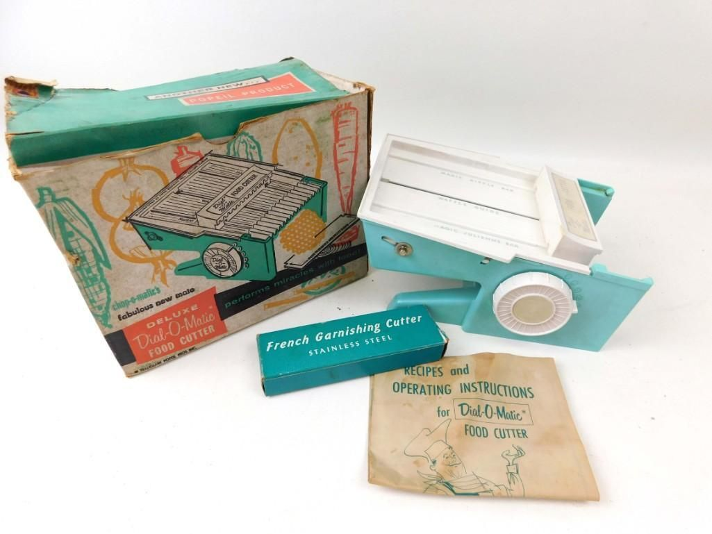 Vintage Deluxe Dial O Matic Food Cutter Aqua in