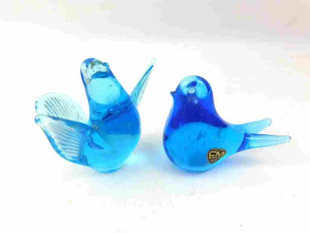 2 Blue Glass Birds One has it's FM Konstglas Sticker